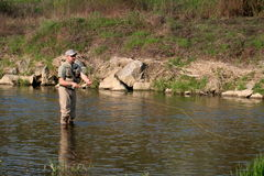 Fly fishing. Angler on the small river Royalty Free Stock Photography