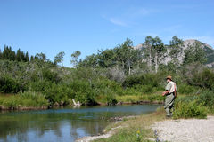 Fly Fishing. On stream in mountain stock photography