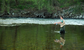 Fly fishing. Fisherman angling on the river Royalty Free Stock Images