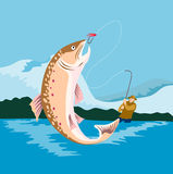 Fly fishing. Vector art on a great summer outdoor pursuit, fishing Stock Photography