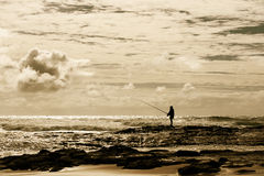 Fly Fishing on the Australian Coast Stock Photography
