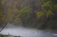 Fly Fishing in Autumn Fog Royalty Free Stock Photo