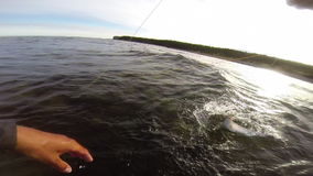 Fly fishing in the baltic sea after trout stock video footage