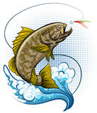 The Fly Fishing. The big fish jumping out of water after the stock illustration