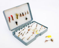 Fly fishing box Royalty Free Stock Images