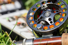 Fly fishing bugs and road with real Stock Photography