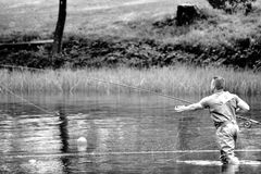 Fly fishing (casting) Royalty Free Stock Photos