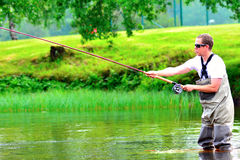 Fly fishing (casting) Stock Photo