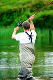 Fly fishing (casting) Royalty Free Stock Image