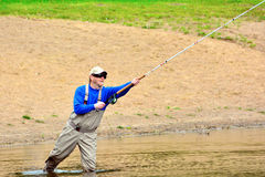 Fly fishing (casting) Stock Photos