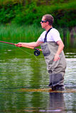 Fly fishing (casting) Royalty Free Stock Photography