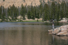 Fly fishing / casting / lake Stock Photo
