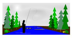 Fly fishing. In the early morning hours concept royalty free illustration