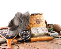 Fly fishing equipment on white Stock Image