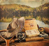 Fly Fishing Equipment With Vintage Look Stock Photo