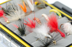 Fly fishing flies. Close up of fly fishing flies in box royalty free stock photo