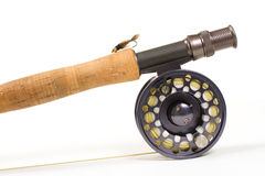 Fly Fishing Gear Rod and Reel. A hares ear bugger nymph is photographed in a lighting studio with a white background while rigged up and ready to fish on this Stock Photos