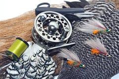 Fly-fishing Gerät Lizenzfreies Stockfoto