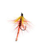 Fly fishing lure. Isolated on a white background Stock Photos