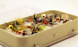 Fly Fishing Lures in a small Fly Tackle Box Stock Image
