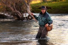 Fly fishing in Mongolia. Fly fishing on river Sagsay in Mongolia Stock Photos