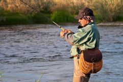 Fly fishing in Mongolia. Fly fishing on river Sagsay in Mongolia Royalty Free Stock Photography