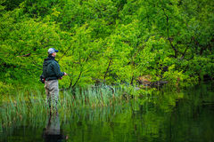 Fly fishing on the mountian lake Stock Images