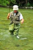 Fly-fishing para a truta Fotografia de Stock