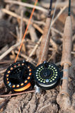 Fly fishing reels Stock Photo