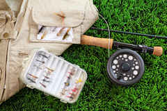 Fly fishing rod and accessories Royalty Free Stock Images