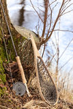 Fly fishing rod and net Stock Images