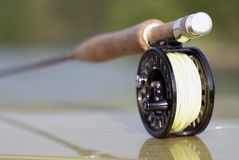 Fly fishing rod for pike royalty free stock photos