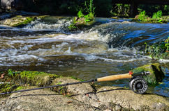 Fly fishing rod and reel Stock Photography