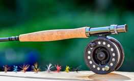 Fly fishing rod and reel Royalty Free Stock Photo