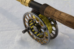 Fly fishing rod on white close up Stock Photography