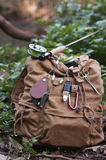 Fly fishing rucksack with lanyard. Two fly fishing rods and a rucksack on the bank, evergreen forest Scandinavia Royalty Free Stock Photos