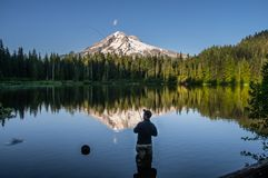 Fly Fishing In the Shadow of Mt Hood. Flyfisher mans catches a trout using the Tenkara  Japanese method of fly-fishing. Burnt Lake, Mt Hood Wilderness Area Stock Photography