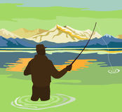 Fly fishing in summer. Vector art on fly fishing Stock Photography