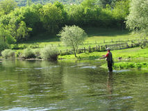 Fly-fishing sur Ribnik Photos stock