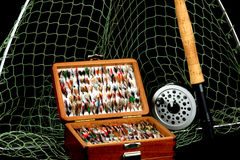 Fly Fishing Tackle on Black Background Royalty Free Stock Photo