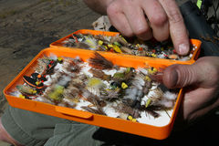 Fly Fishing Tackle Box Royalty Free Stock Images