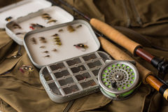 Fly fishing tackle Royalty Free Stock Images