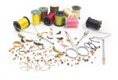Fly fishing tools and materials Royalty Free Stock Photography