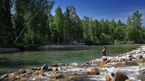 Fly fishing 1. Fly fishing for trout fishing stock footage