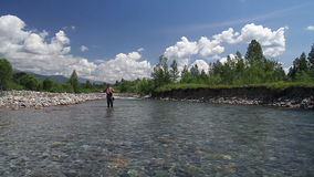 Fly fishing 3. Fly fishing for trout fishing stock video footage