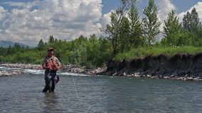 Fly fishing 4 stock footage