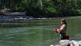Fly fishing. For trout fishing stock footage