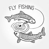 Fly fishing. Trout swim around the bait and the inscription: Fly fishing stock illustration