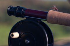 Fly fishing vintage reel and rod Stock Photo