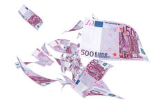 Fly Five hundred euro banknotes. (white and clipping path Stock Photography